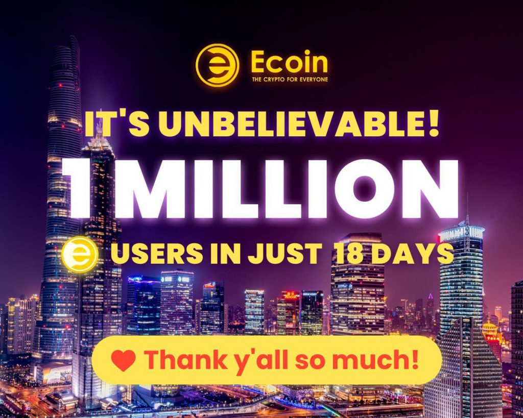 Ecoin Official 1 Million Sign Ups